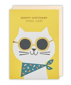 Cool Cat Birthday Card by Ekaterina Trukhan for Lagom