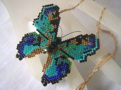 Seed Bead Butterfly Necklace 3D Brick Stitch by lindasoriginaljewels on Etsy