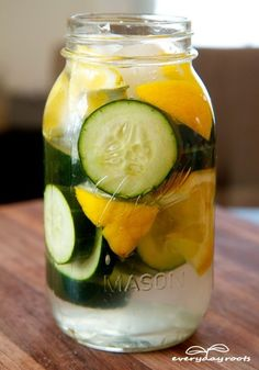 Simple way to slim down-drink water with orange, lemon, and cucumber. I drink at night.