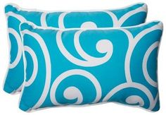 Pillow Perfect Best Outdoor 2-Piece Lumbar Throw Pillow Set - Blue