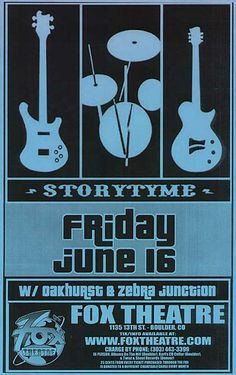 Original concert poster for Storytyme at the Fox Theatre in Boulder, CO. Rare telephone pole poster- very few survived. 11 x 17 on thin paper.