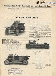 Historischer Prospekt der Accumulatoren-Fabrik Aktiengesellschaft, Berlin, 1914, Reproduktion: Verkehrsmuseum Dresden