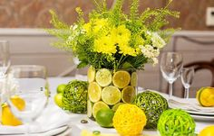 lemons in decor, yellow color for home decorating