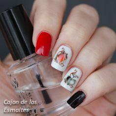 Decoración de uñas de cartas o  poker - Water decals de BPS  Poker nail art - Black, red and white