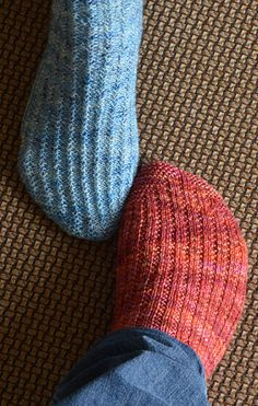 "This sock has a smooth side and a rough side. The leg is worked ""right-side out"" down to the heel turn, then turned inside-out and finished ..."