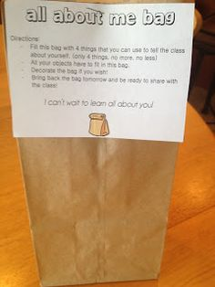 Back to school All About Me Bag – I did that last year at the beginning of the school year. The kids loved it and it's a fun way to get to know each other, so I'll do it again! Just give the children a brown paper bag on the first day of school and … First Day Activities, Back To School Activities, Classroom Activities, School Ideas, All About Me Activities Eyfs, Primary Classroom Displays, Icebreakers For Kids, Preschool Classroom Setup, Year 1 Classroom