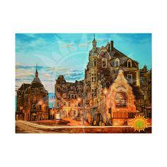 Вечерний Дрезден на картине из янтаря