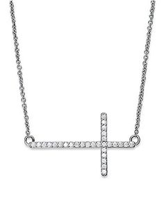 fade11585ba4 Diamond Sideways Cross Pendant Necklace in Sterling Silver (1 5 ct. t.w.)    Reviews - Necklaces - Jewelry   Watches - Macy s