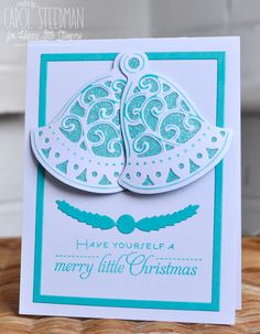 Crafter's Companion Create a card Christmas Bells and Papertrey Ink You've been Framed Oval Christmas Card. Love the monochrome look. By Inkyfingered Carol.