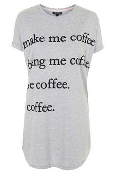 Make Me Coffee Pyjama Tee - Topshop