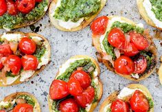 Pesto and Ricotta Bruschetta