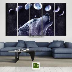Lunar Eclipse Canvas Print, Wolf Wall Art, Wild Animal Art, Wolf Poster, Wildlife Painting by GTCreativeArt on Etsy Bird Wall Art, Home Wall Art, Wolf Poster, Wildlife Paintings, Lunar Eclipse, Animal Decor, Tree Print, Custom Canvas, Canvas Frame