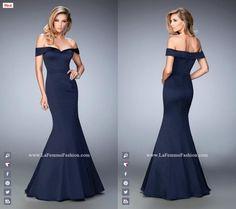 La Femme Prom style - 22149 long prom dress - navy prom dress - bridesmaids dress - mermaid dress - formal dress - sweetheart neckline