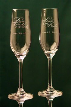 22 Examples About How to Write Personalized Wedding Vows - insiderguide Wedding Toasting Glasses, Wedding Champagne Flutes, Champagne Glasses, Personalized Champagne Flutes, Personalized Wedding, Bickham Script, Rainbow Wedding, Wedding Toasts, English Style