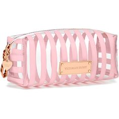Victoria's Secret Small Cosmetic Bag (53 BRL) ❤ liked on Polyvore featuring bags, handbags, beauty, pink, pink purse, bow handbag, striped bag, victoria secret handbags and victoria's secret