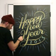HAPPY NEW YEAR everyone! #type #lettering #chalkboard #black #yellow