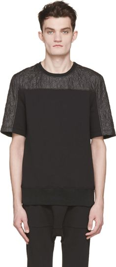 Helmut Lang: Black Nylon & Jersey Quilted T-Shirt