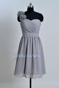 One-shoulder Short Chiffon Mint Coral Grey Blush Pink Purple Navy Blue Bridesmaid Dress Wedding Party Dress 2014