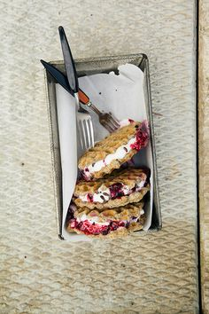 (via vanilla bean waffle ice cream sammies w/ maple berry mash » The First Mess)