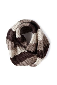 Brown stripped chunky cable scarf