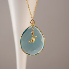 Personalized Blue Topaz Necklace - December Birthstone - Gold Necklace - Personalized Jewelry - Large stone necklace.