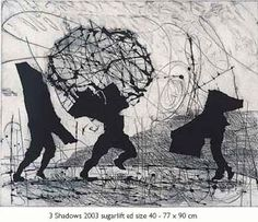 William Kentridge Three Shadows, 2003 Etching, drypoint, sugar lift, 77 x 90 cm © William Kentridge Collages, Renaissance, South African Artists, Yoruba, Cool Paintings, Famous Artists, Gravure, Contemporary Artists, Light In The Dark