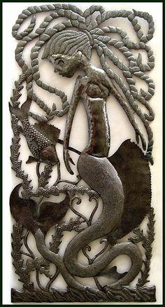 Mermaid Metal Art Wall Hanging - Handcrafted Haitian Steel Oil Drum Wall Decor -by HaitianMetal