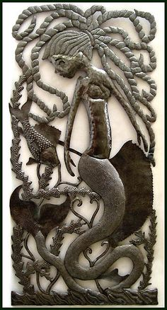 Mermaid Metal Art Wall Hanging-	-  Drum Metal Art, Metal Wall, Handcrafted Metal, Decorative Metal Wall Décor, Metal Wall Hanging, Haitian Metal Art, Recycled Steel Drum Art of Haiti  Handcrafted by HaitiMetalArt