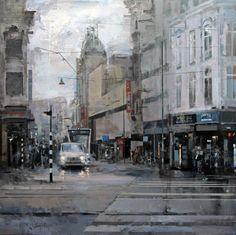 """Straat"" (Dutch for street) by Ricardo Galán Urréjola Impressionist Landscape, Watercolor Landscape Paintings, City Landscape, Urban Landscape, Female Painters, Urbane Kunst, Urban Painting, Great Paintings, Oil Paintings"