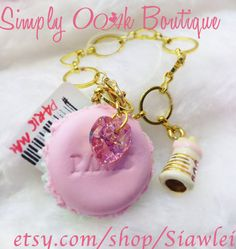 Food Jewelry Paris Duo Color Macaron Bag Charm by Funwithartz on Etsy, $18.00