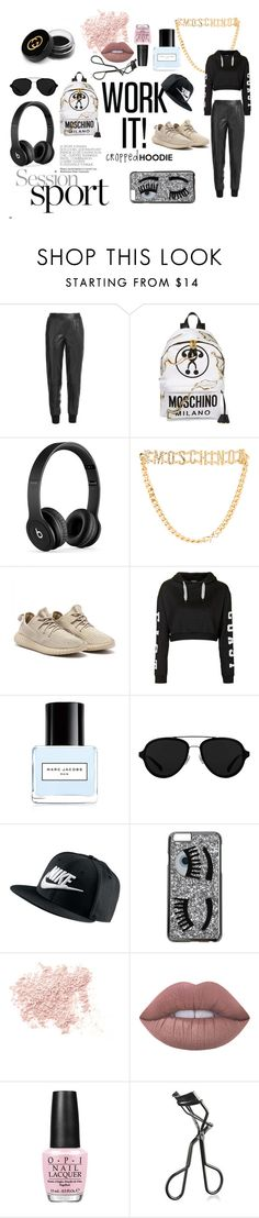 """Moody Hoodie"" by blackheaven on Polyvore featuring Vince, Moschino, Beats by Dr. Dre, Topshop, Marc Jacobs, 3.1 Phillip Lim, NIKE, Chiara Ferragni, Bare Escentuals and Lime Crime"