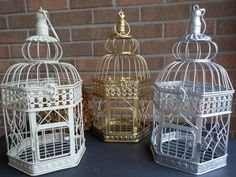 Bird Cage Wedding Card Holder, French Cream, Gold, Silver Birdcage, Hexagon Bird Cage Card Box, Shower Decor, Money Holder, Custom Colors