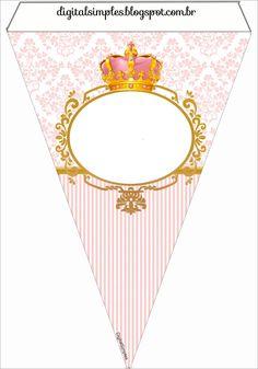 Mais um  Kit feito para a festa de nossas Princesas, esse Kit Coroa de Princesa  Rosa, não possui muitas imagens, um pouco ...
