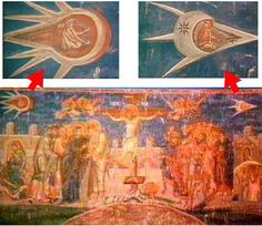 This painting of 'The Crucifixion' was painted in 1350 and seems to depict a small humanoid sitting in a UFO looking over his shoulder at another UFO as if in pursuit or even in a race, as he flies across the sky in what is clearly a UFO of some sort. The leading craft is decorated with two twinkling stars, one reminiscent of national insignia on modern aircraft. This painting hangs above the altar at the Visoki Decani Monestary in Kosovo, Yugoslavia.  #aliens #ufo