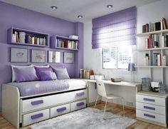 Modern Minimalist Purple White Interior Kids Bedroom Ideas