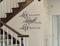 """Live Laugh Love vinyl wall decal is a great addition to the entryway of a home as seen here in the main photo. Available in one size: 22"""" tall and 24"""" wide"""