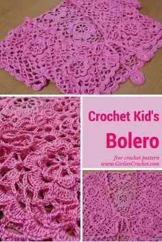 free crochet pattern, kids bolero, shrug, easy, photo tutorial, thread crochet