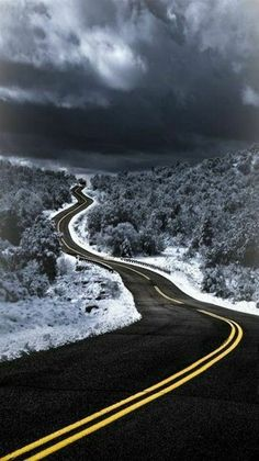 Blacktop Winding Road in Winter Beautiful Roads, Beautiful Landscapes, Beautiful Places, Landscape Photography, Nature Photography, Empty Road, Winter Road, Winter Time, Winding Road