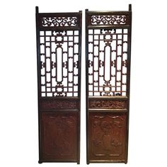 Pair of Chinese DOORS | From a unique collection of antique and modern sculptures and carvings at https://www.1stdibs.com/furniture/asian-art-furniture/sculptures-carvings/
