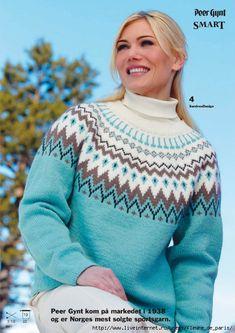 свитер с жаккардовой кокеткой