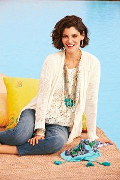 Cora Crochet Top with Delicate Kyleen Cardigan Chicos Fashion, Denim Fashion, Fashion Outfits, Womens Fashion, Style Fashion, Sweater Set, Sweater Cardigan, Cute Sweaters, Feminine Fashion