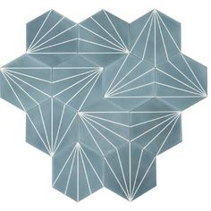 MarrakechDesign - Dandelion in pigeon blue pure white Hall Tiles, Porch Tile, Contemporary Tile, Ranch Remodel, Tadelakt, Beaded Chandelier, Bathroom Interior Design, Interior Ideas, Tile Patterns