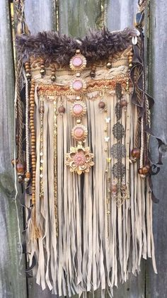 Handmade Tan Suede Leather Fringe Bag W/ Amber Boho Hobo Hippie OOAK Purse B.Joy - Women's fashion and Women's Bag trends Boho Hippie, Hippie Purse, Hippie Bags, Boho Bags, Boho Gypsy, Bohemian Style Jewelry, Hippie Jewelry, Boho Chic, Bohemian Fashion