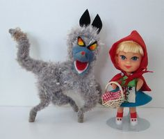 Liddle Kiddles Liddle Red Riding Hiddle Vintage Mattel Doll with Big Bad Wolf
