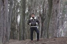 Lee Pappas for Golden Bear Sportswear (Winter 2012) #LeePappas #malemodel #model #StarsModels #StarsModelMgmt #GoldenBear #GoldenBearSportswear #jacket #wood #trees