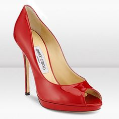 Sexy Online Shopping Jimmy Choo Quiet 120mm Red Peep Toe Pumps Limit Discount French