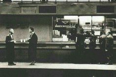 This is Prague in 1988 and Depeche Mode eat and drink at the sausage stand at the Wenceslas Square