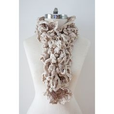 Ivory Beige Ruffle Scarf with Vine Accent scarf, X Long version,... ($107) ❤ liked on Polyvore featuring accessories and scarves