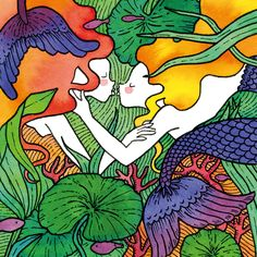two beautiful and colorfull mermaids about to kiss Kiss Illustration, Beautiful Couple, Mermaids, Markers, Graphic Design, Watercolor, Pen And Wash, Sharpies, Watercolor Painting