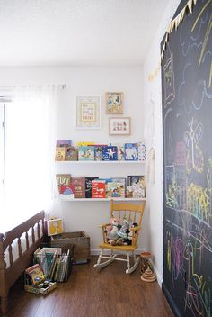 book shelves + chalk wall